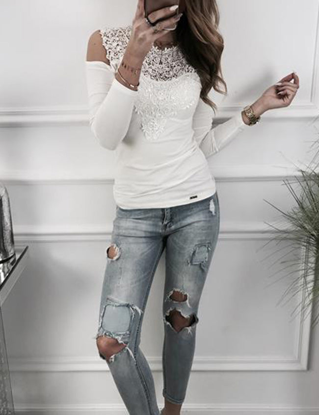 Chicnico Fashion Long Sleeve Casual Blouse Lace Tops T-shirt