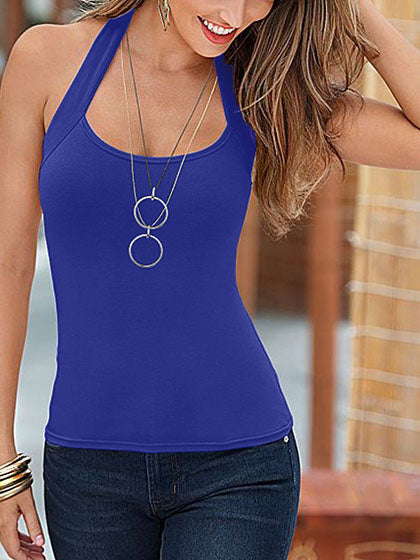 Chicnico Sexy Sleeveless Halter Solid Color Top Camisole