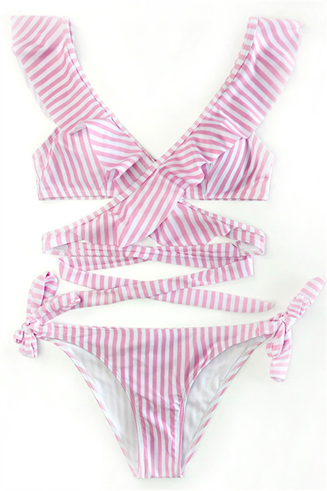 Chicnico Fashion Striped Flounce Lace Up Bikini Set