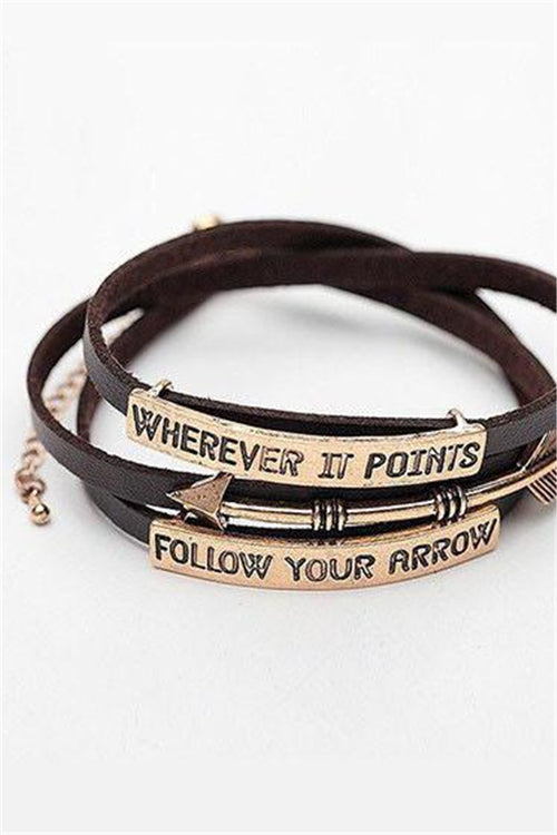 Chicnico Casual Follow Your Arrow Leather Barcelet