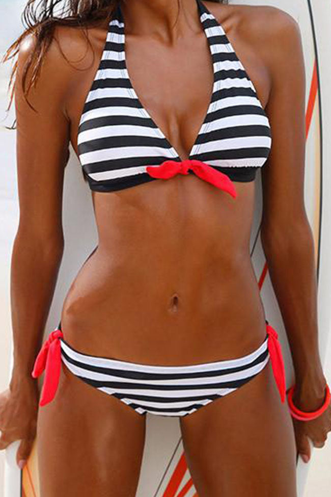 Chicnico Sport Halter Striped Bikini Set