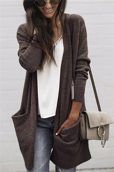 Chicnico Classic Solid Color Long Cardigan