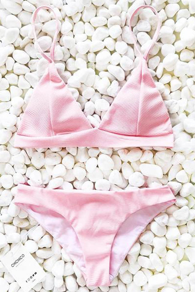 Chicnico Sweet Peach Blushing Pink Bikini Set