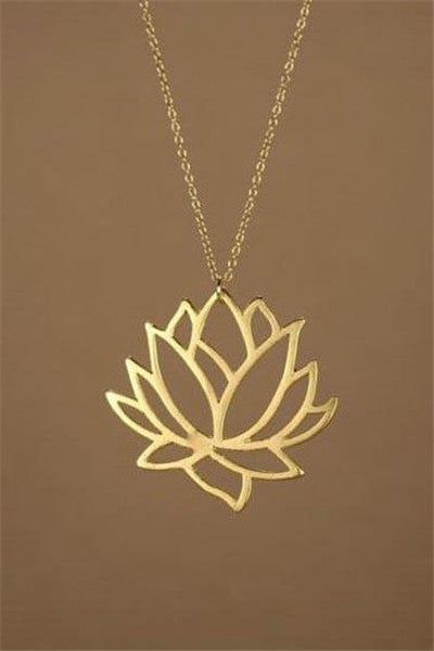 Chicnico Delicate Lotus Flower Gold Chain Necklace
