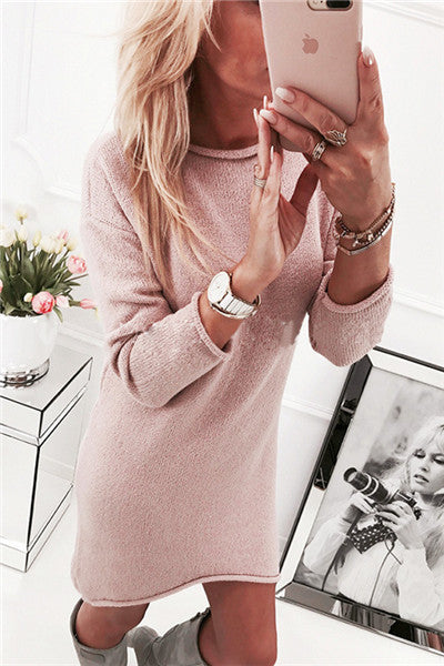 Chicnico Simple Solid Color Sweat Dress