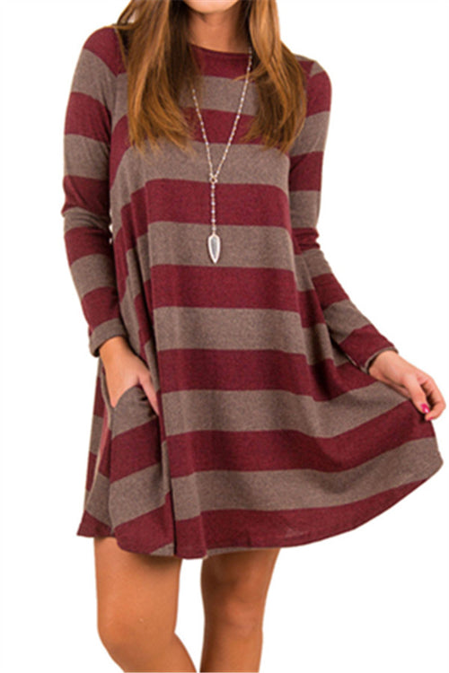 Chicnico Colorful Striped Sweater Dress