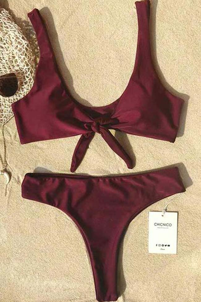 Chicnico Beach Dream Tie Solid Bikini Set