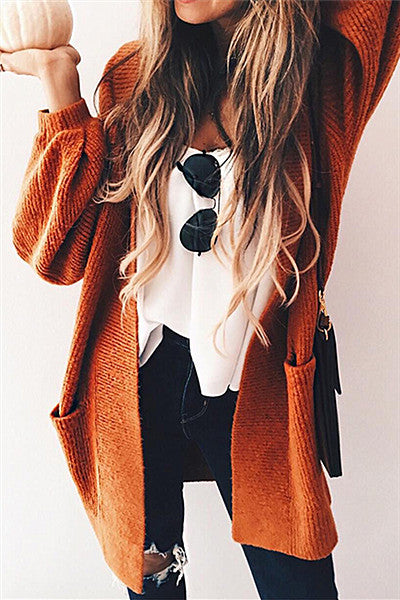 Chicnico Casual Oversize Orange Cardigan