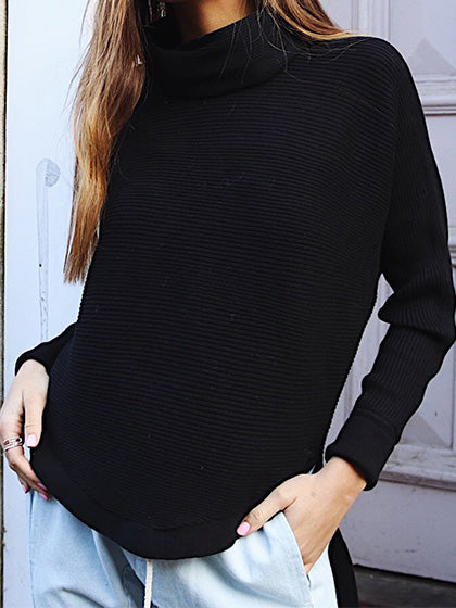 Chicnico Fashion Cowl Neck Curved Hem Sweaters