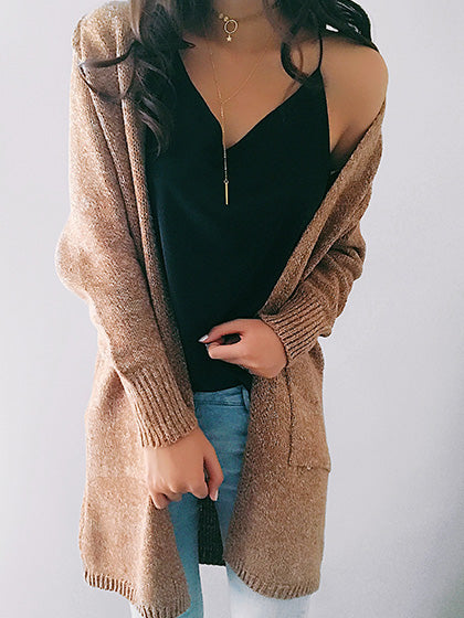 Chicnico Casual Knit Solid Color Loose Cardigan Coat