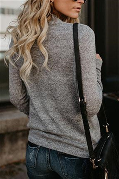 Chicnico Stylish Deep V Neck Solid Color Loose Sweater
