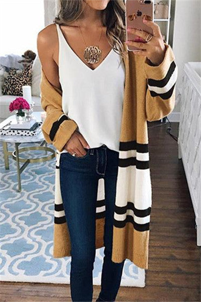 Chicnico Street Fashion Striped Loose Cardigan