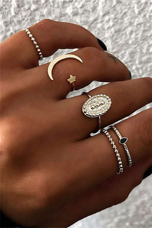 Chicnico Bohemian Star Moon 5 Pcs Rings