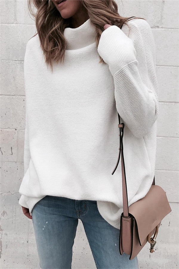 Chicnico Simple Soft Mock Neck White Sweater