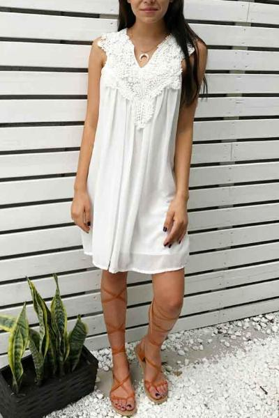Chicnico Sexy Lace Up Open Work Solid Color Dress