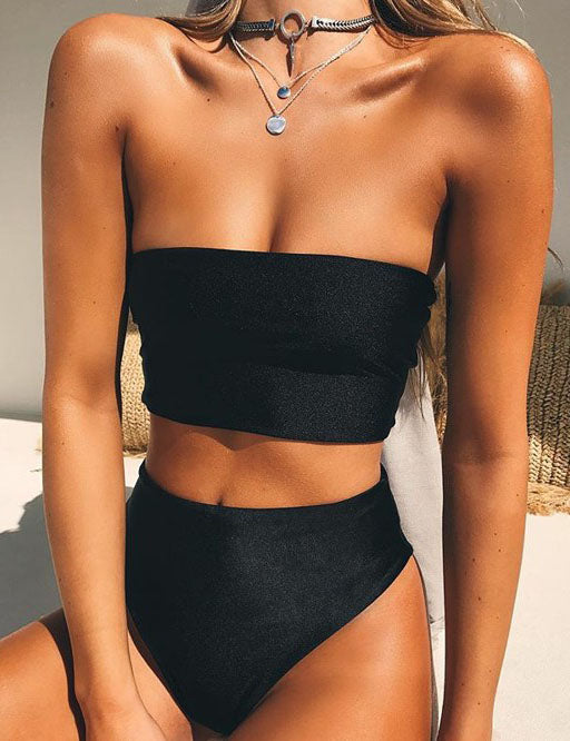Chicnico Simple Solid Bandeau High Waist Bikini Set