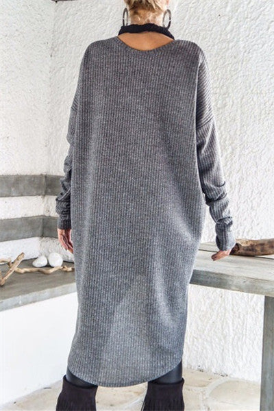 Chicnico Casual Long Sleeve Midi Dress