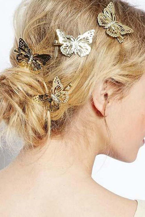 Gold Butterfly Hair Clip (set of 2)