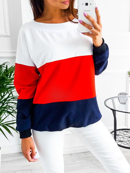 Chicnico Casual Crew Neck Color-Block Bow Sweatshirt