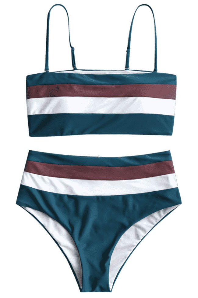 Chicnico Color Block High Waist Bikini Set