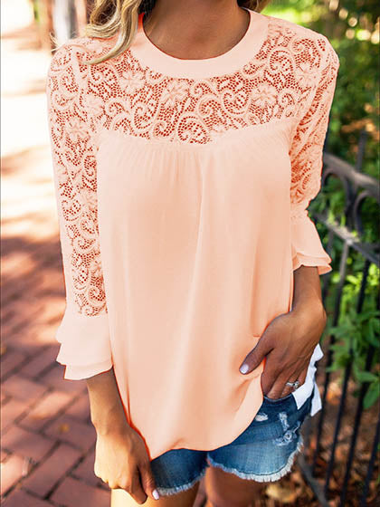 Chicnico Casual Chiffon Lace Spliced Long Sleeve Top