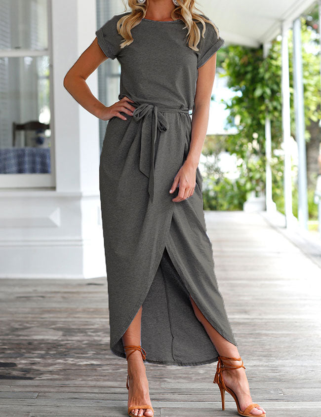Chicnico Casual Short Sleeve Front Split Maxi Dress