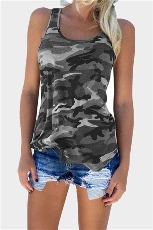 Chicnico Camouflage Printed Tank Top