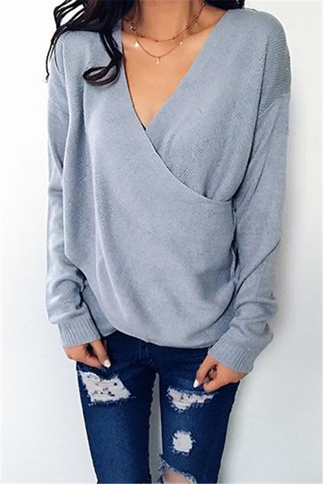 Chicnico Simple Casual V Neck Front Cross Weekend Sweater