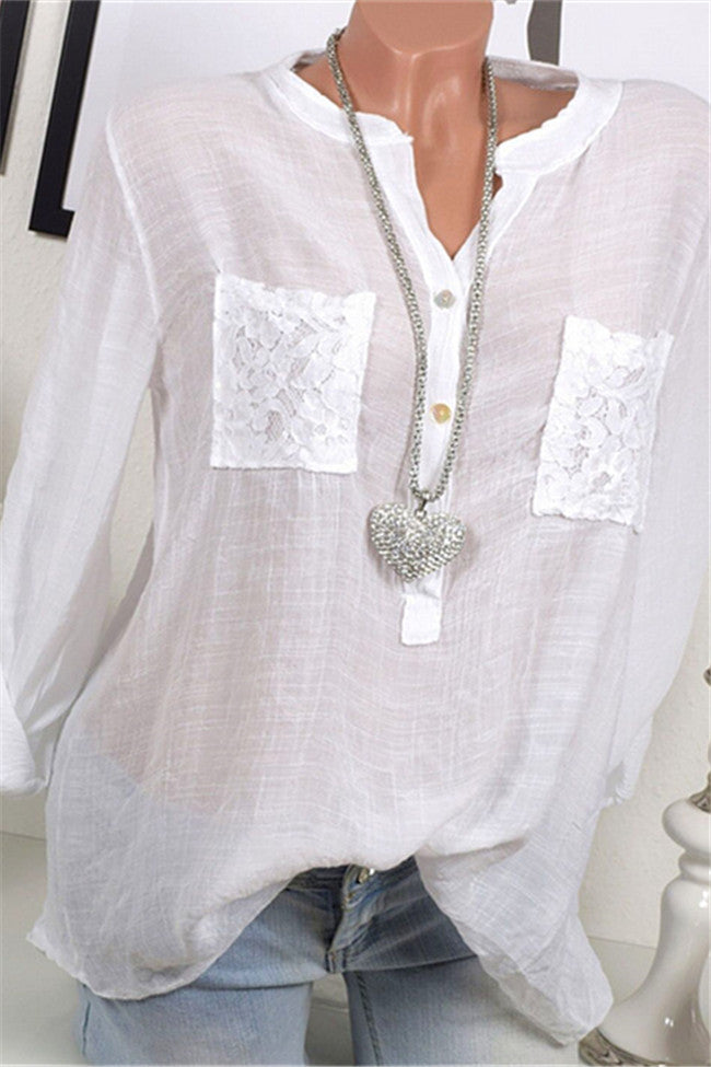 Chicnico Lace Pocket Solid Color Loose Blouse