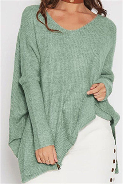 Chicnico Irregular Hem Loose Sweater