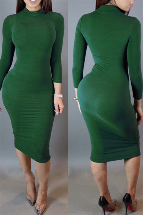 Chicnico Long Sleeve Bodycon Midi Dress