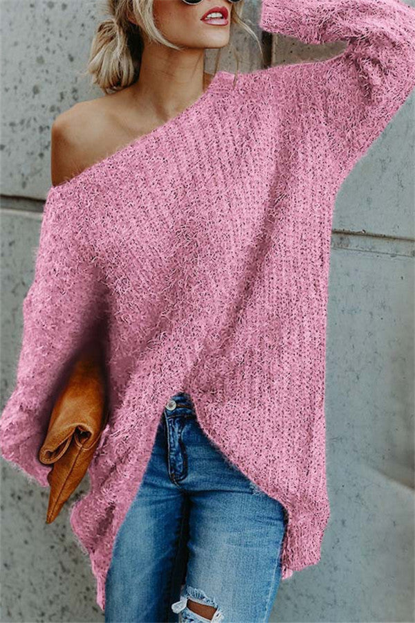 Chicnico Casual Oversize Cold Shoulder Sweater