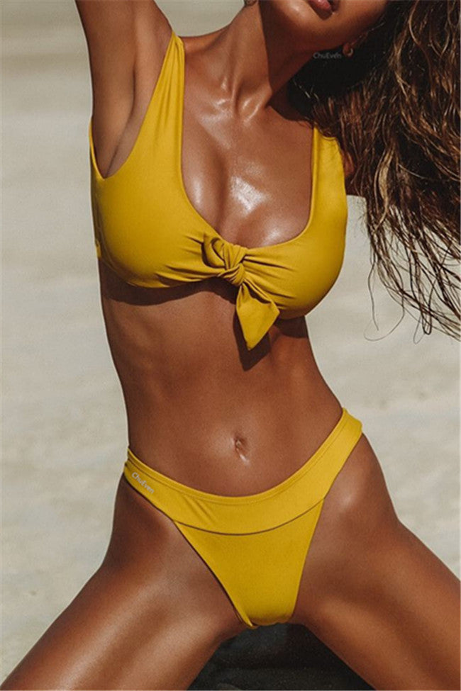 Chicnico Bow Tie Top Solid Color Bikini Set