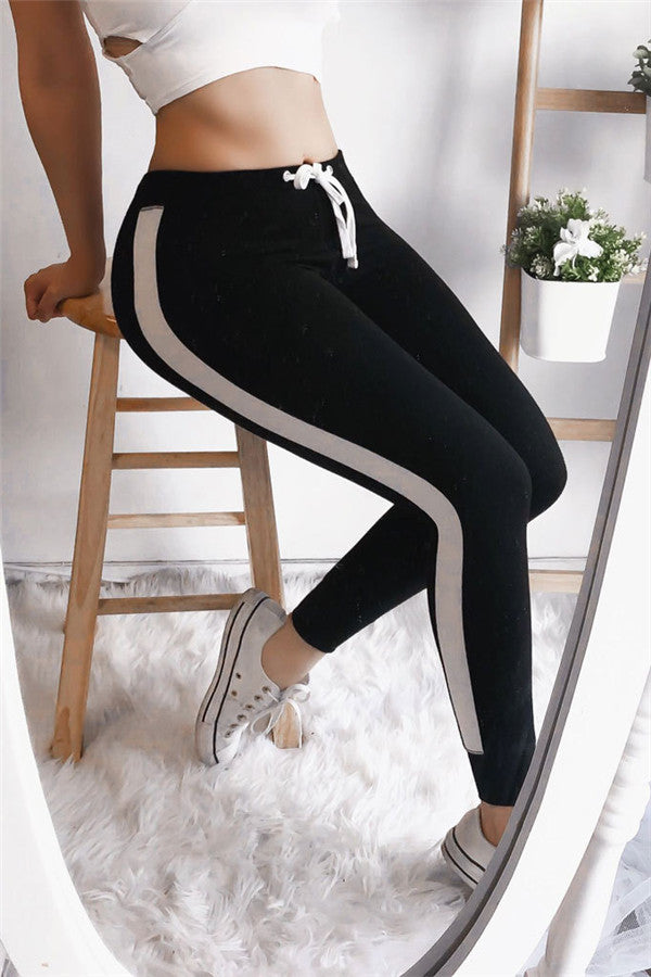 Chicnico Casual Color Block Skinny Active Pants