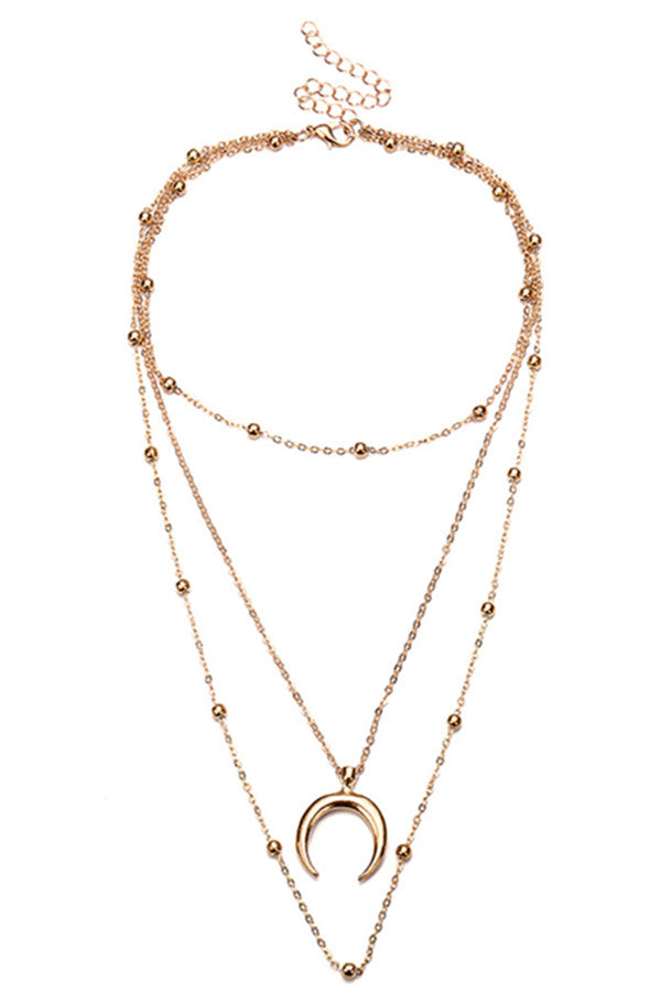 Chicnico Vintage Bead Chains Moon Layered Necklace
