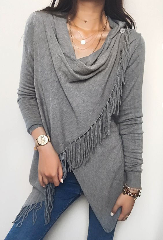 Chicnico Gray Single Button Tassel Asymmetrical Hem Shawl