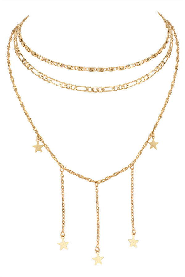 Chicnico Golden Star Layered Necklace