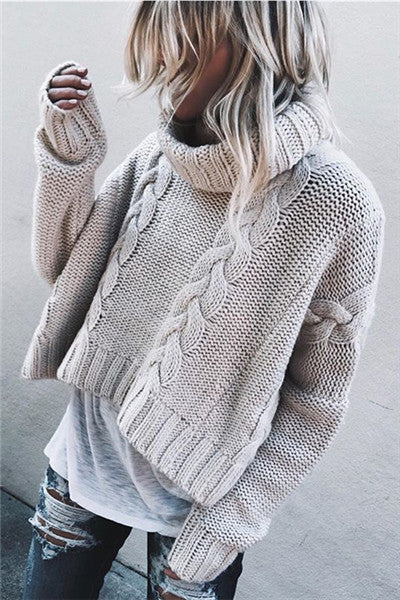 Chicnico Fashion Cable Turtleneck Short Sweater