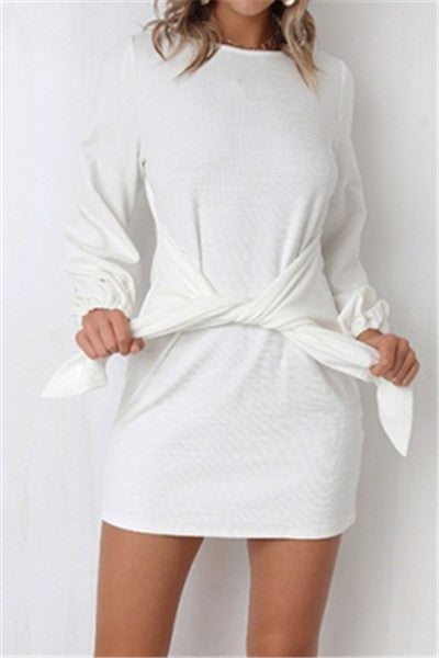 Chicnico Casual Self Tie Long Sleeve Mini Dress