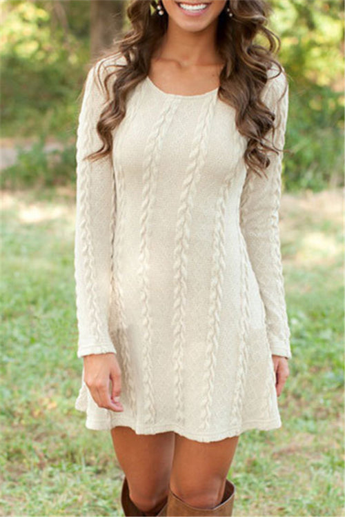 Chicnico Fashion Cable Knit Sweater Dress