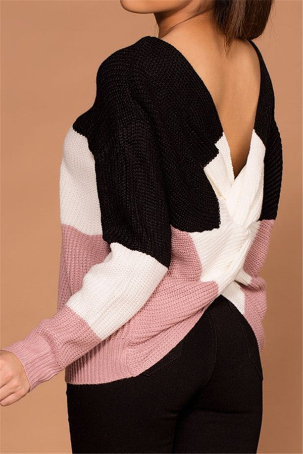 Chicnico Back Cross Patchwork Sweater