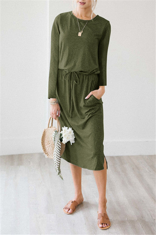 Chicnico Cozy Self Tie Midi Dress