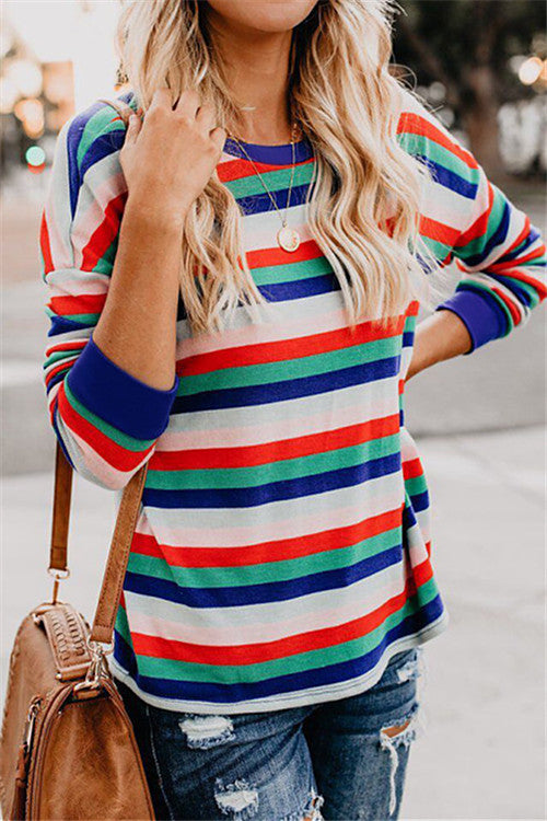 Chicnico Colorful Striped Sweatshirt