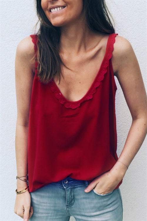 Chicnico Lace Hem Button Up Camisole
