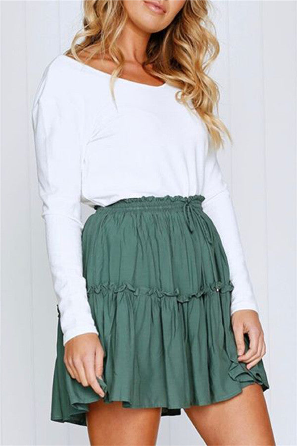 Chicnico Casual Frilled Mini Skirt