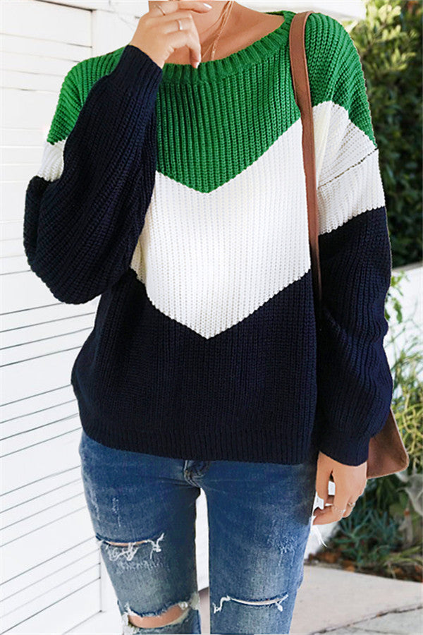 Chicnico Patchwork Loose Sweater