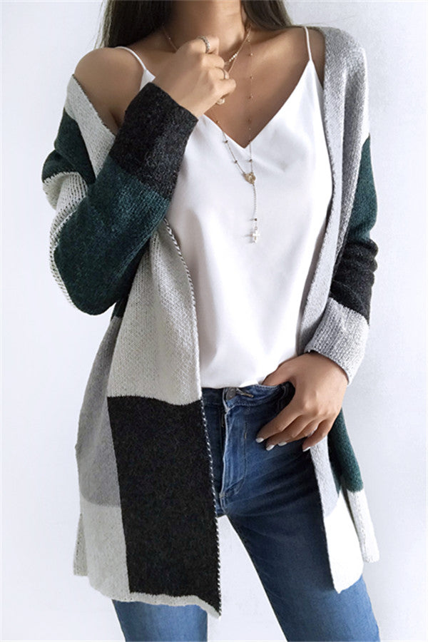 Chicnico Fashion Knit Multi color Long Sleeve Cardigan