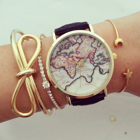 Chicnico Vintage World Map Watch