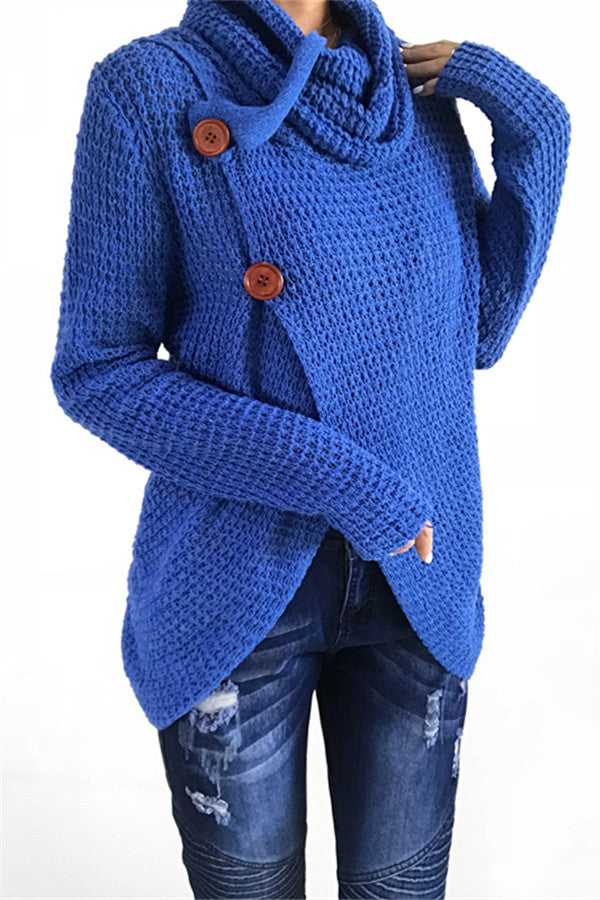 Chicnico Casual Long Sleeve Front Cross Sweater