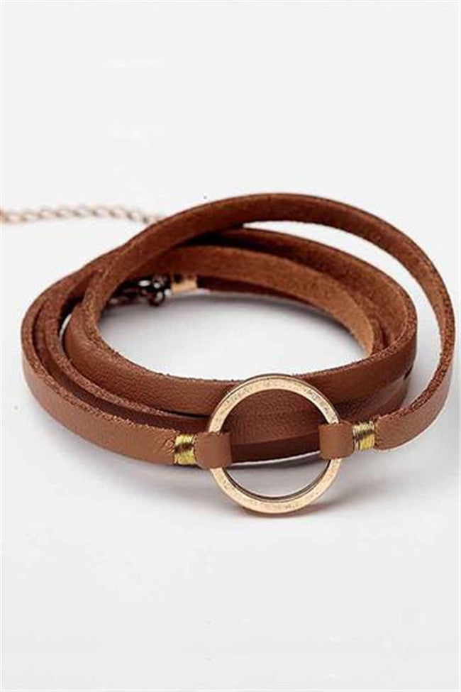 Chicnico Simple Leather Alloy Black Bracelet